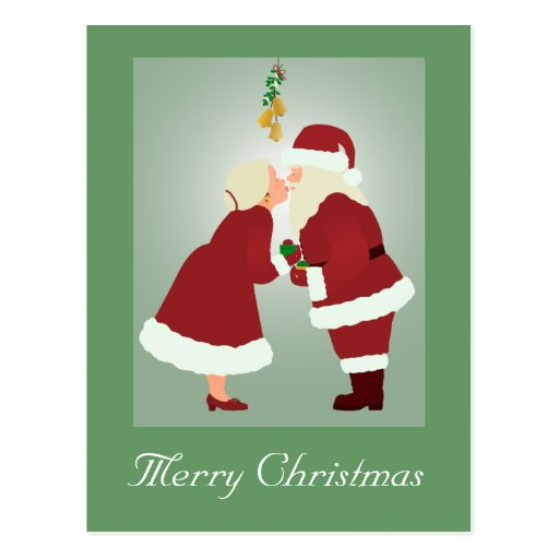 MR and MRS Claus Merry Christmas Postcard