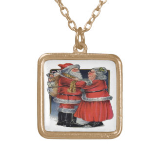 Mr and Mrs Claus Square Pendant Necklace