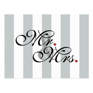 Mr. and Mrs. Click to Customize Color Stripes Postcard