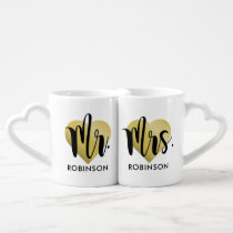 Mr. and Mrs. Coffee Mug Set | Gold Monogram