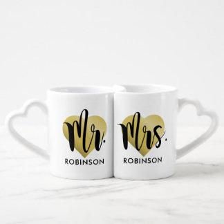 Mr. and Mrs. Coffee Mug Set   Gold Monogram