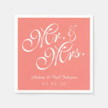 Mr. and Mrs. Coral Pink Wedding Paper Napkins