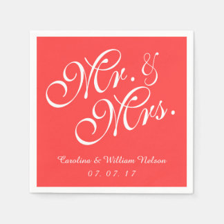 Mr. and Mrs. Coral Red Wedding Paper Napkins