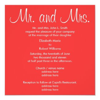Mr. and Mrs. Coral Wedding Invitation