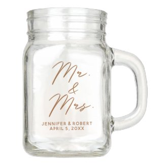 Mr and Mrs Curly Script Wedding Decor Mason Jar
