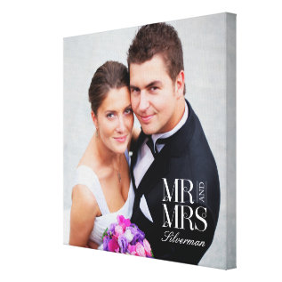 Mr and Mrs Custom Photo Canvas at Zazzle