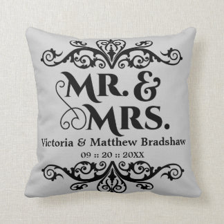 Mr. and Mrs. Customizable Background Color Wedding Pillows
