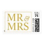 Mr and Mrs Design Larger Weddings  Gold Postage