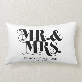 Mr. and Mrs. design, vintage, elegant style. Lumbar Pillow