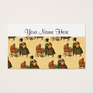 Mr and Mrs Dog and Puppy Vintage Wallpaper 1899 Business Card