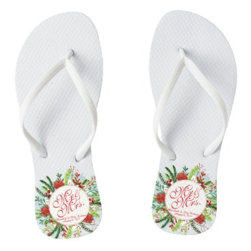 Bride Themed Mr and Mrs Elegant Christmas Wedding Flip Flops