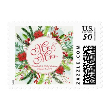 Bride Themed Mr and Mrs Elegant Christmas Wedding Postage Stamp