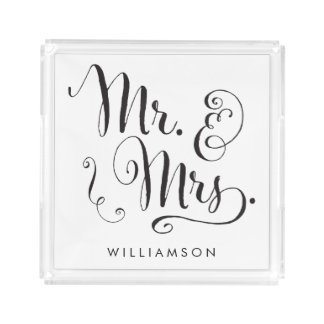 Mr and Mrs Fancy Script Acrylic Tray