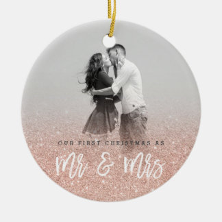 Mr and Mrs first Christmas custom photo Ceramic Ornament