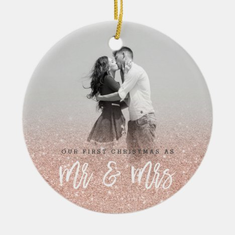 Mr and Mrs first Christmas custom photo Ceramic Ornament