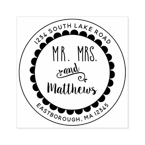 Mr and Mrs Floral Create Your Own Return Address Rubber Stamp