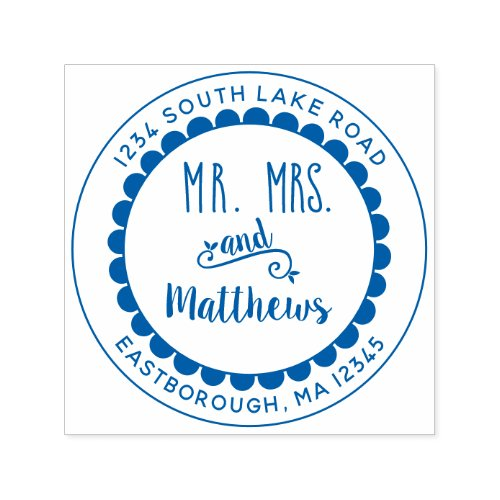 Mr and Mrs Floral Create Your Own Return Address Self_inking Stamp