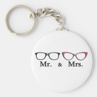 Mr. And Mrs. Geek Basic Round Button Keychain