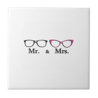 Mr. And Mrs. Geek Small Square Tile