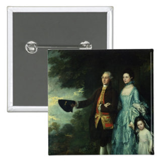 Mr. and Mrs. George Byam and their eldest 2 Inch Square Button