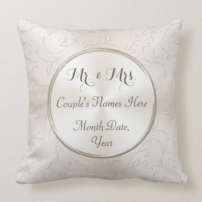 Mr And Mrs Gift Ideas Personalized Wedding Pillow Zazzle