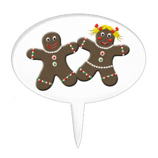 Mr And Mrs Gingerbread Holiday Wedding Cake Topper