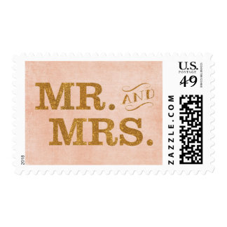 Mr. and Mrs. Gold and Coral Wedding Stamp