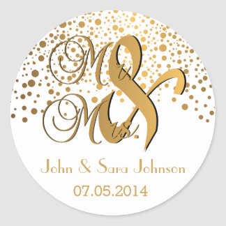Mr and Mrs | Gold Dots | Wedding| Personalize Classic Round Sticker