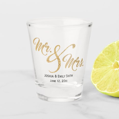 Mr and Mrs Gold Glitter Wedding Favor Gift Shot Glass