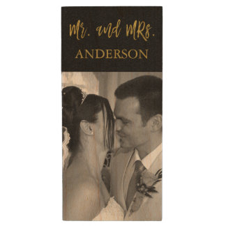 Mr. and Mrs. Gold Typography Wedding Photos USB Wood Flash Drive