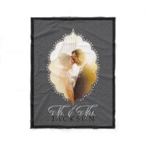 Mr. and Mrs. Gray Wedding Photo Personalized Name Fleece Blanket