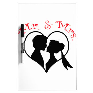 Mr And Mrs Heart Dry Erase Board