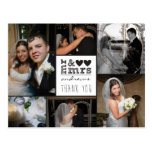 Mr and Mrs Hearts Thank You Photo Card Post Card
