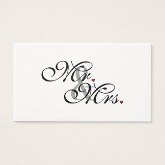 Mr. and Mrs. Husband Wife His Her Newly Weds Business Card