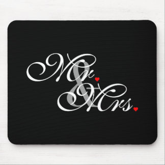 Mr. and Mrs. Husband Wife His Hers Newly Weds Mouse Pad
