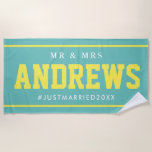 """Mr and Mrs Just Married honeymoon wedding gift Beach Towel<br><div class=""""desc"""">Mr and Mrs Just Married honeymoon wedding gift beach towel. Cool personalized beachtowels for him and her. Make your own summer beach / pool towel for bride and groom couple, newly weds, friends and family. Humorous present for married friends, husband & wife, boss, colleague, co worker, couple, honeymooners, sailor, boat...</div>"""
