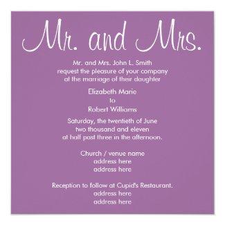 Mr. and Mrs. Lavender Wedding Invitation