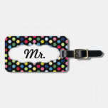 Mr and Mrs luggage tag - his - colorful polka dots