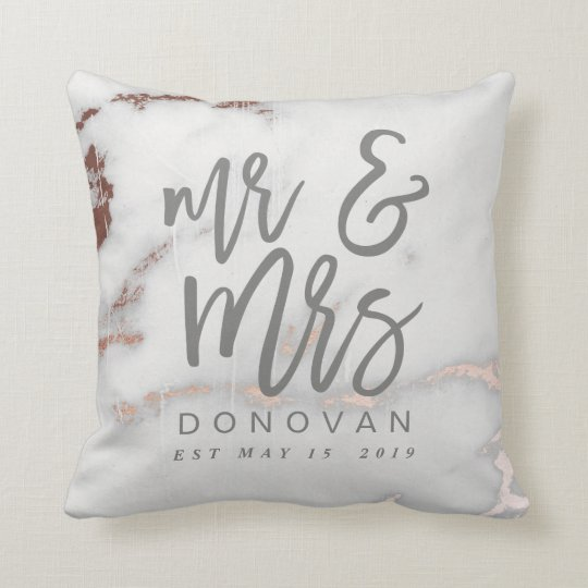Mr And Mrs Marble And Rose Gold Cushion Zazzle Com