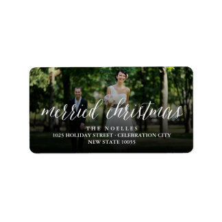 Mr and Mrs Married Christmas Holiday Photo Labels