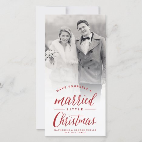 Mr And Mrs Married Little Christmas Wedding Photo Holiday Card