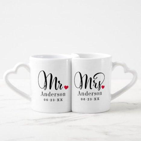 Mr. and Mrs. Married Name Red Heart Monogram Coffee Mug Set