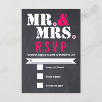 Mr. and Mrs. Modern typography black pink RSVP