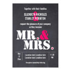 Mr. and Mrs. Modern typography black pink wedding Card