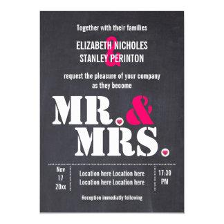 Mr. and Mrs. Modern typography black pink wedding Card