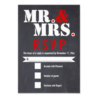 Mr. and Mrs. Modern typography black, red RSVP Card