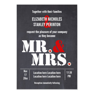 Mr. and Mrs. Modern typography black red wedding Card