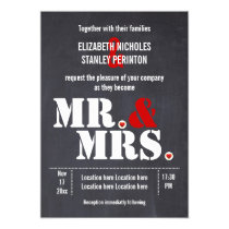 Mr. and Mrs. Modern typography black red wedding Invitation