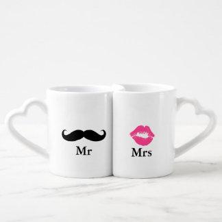 Mr and Mrs- Mustache and Lipstick Couples' Coffee Mug Set