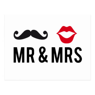 Mr and Mrs, mustache and red lips Postcard